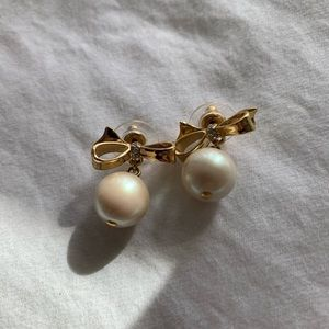 Kate Spade Bow/Drop Pearl Earrings